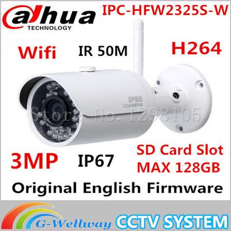 Dahua IPC-HFW2325S-W 3MP IR50M IP67 built-in WIFI SD Card slot Network outdoor WIFI Camera replace IPC-HFW1320S-W IP Camera #Affiliate