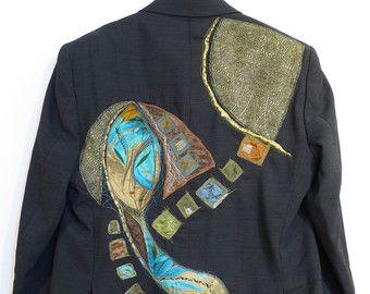 veste, noir veste, hommes veste noire toile veste, veste décorée boho, homme veste 30 % hors hiver trucs upcycled, vente dehors!!!
