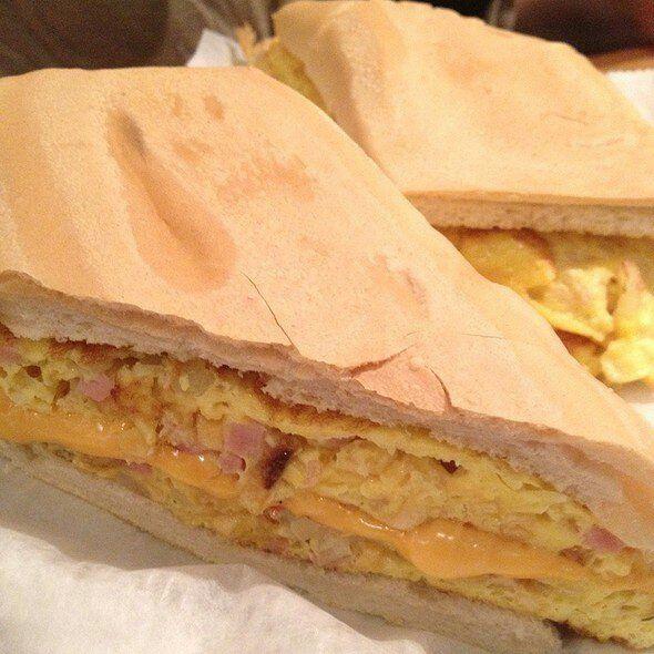 Hearty Puerto Rican breakfast sandwich!