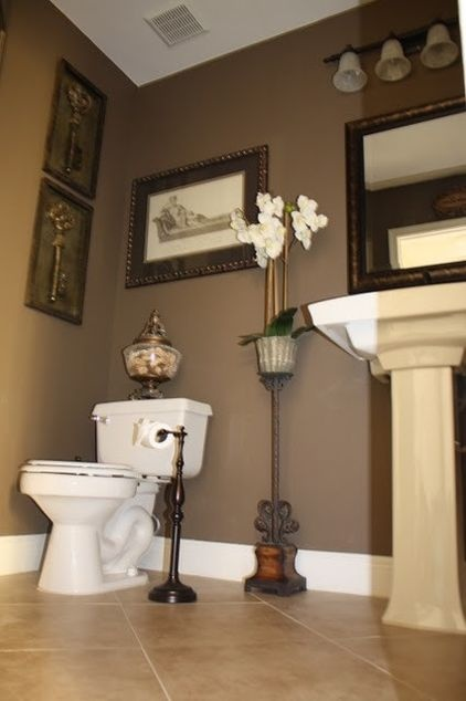 brown bathroom colors traditional powder room by de armas for the 12185