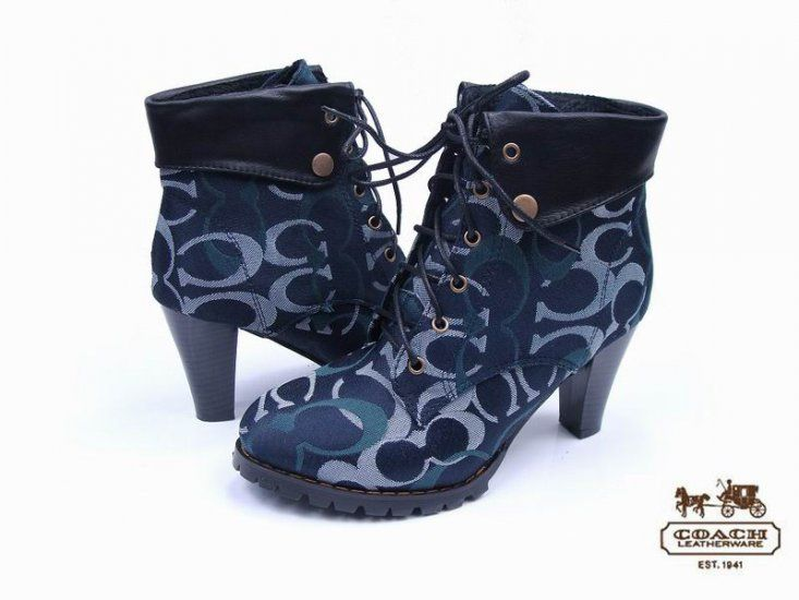coach boots outlet h5rn  Coach Classic Lorel Signature Suede Dark Blue Boots GY154