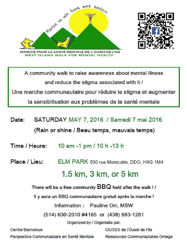 #MentalHealthWeek: Come walk with us! Sat. May 7th, 10am-1pm Elm Park, DDO A community walk to raise awareness about mental illness and reduce the stigma associated with mental illness