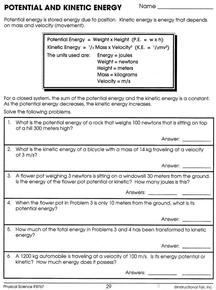 Potential And Kinetic Energy Worksheet Answers Science