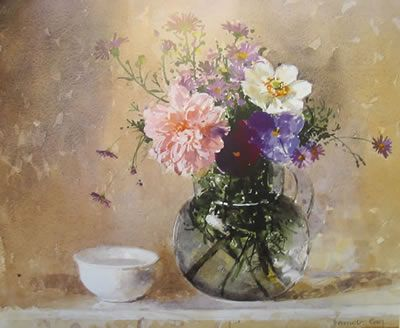 Glass Jug of Flowers and a Bowl by Pamela Kay