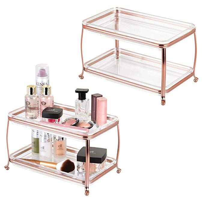 Mdesign Decorative Makeup Storage Organizer Vanity Tray Bathroom Counter Tops 2 Levels To Hold Makeup Makeup Storage Organization Cosmetic Storage Vanity Tray