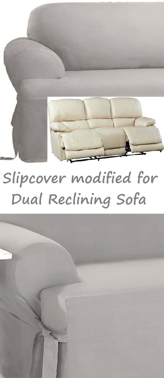 Dual Reclining Sofa Slipcover T Cushion Cotton Gray Surefit Grey