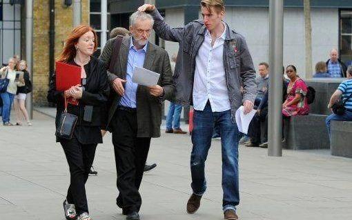 Seb Corbyn pats his father's head