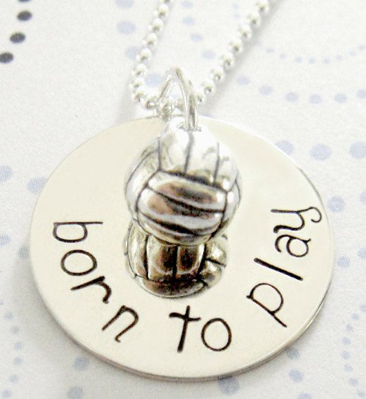 Volleyball Necklace  Hand Stamped Jewelry   by KristyLynnJewelry, $40.00
