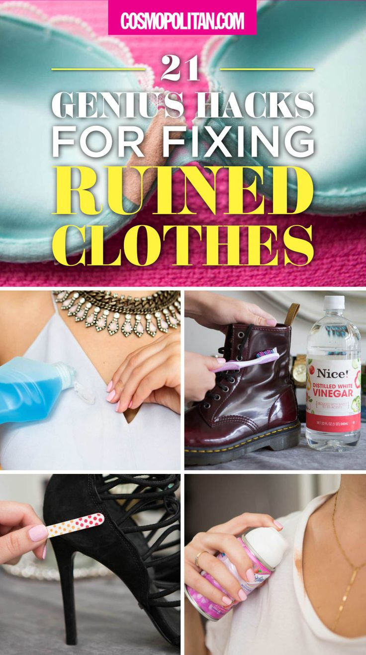 You have a red wine stain on your shirt. Now what? Scroll through to see these 21 genius hacks for fixing your ruined clothes. Pro tip: Remove red wine stains with white wine. Soak the spot in white wine for a few minutes to pretreat the stain before washing.