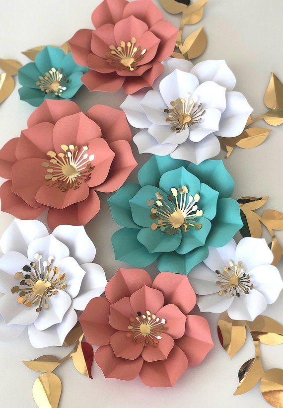 Papier fleurs lot de 5, fleurs en papier pour bébé, décor de fête d'anniversaire, Baby Shower chambre, décor de toile de fond Photo