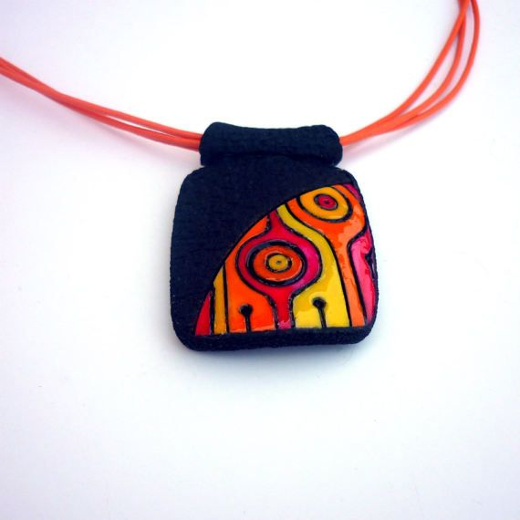 Orange red pendant Statement necklace by ArtStudioKatherine