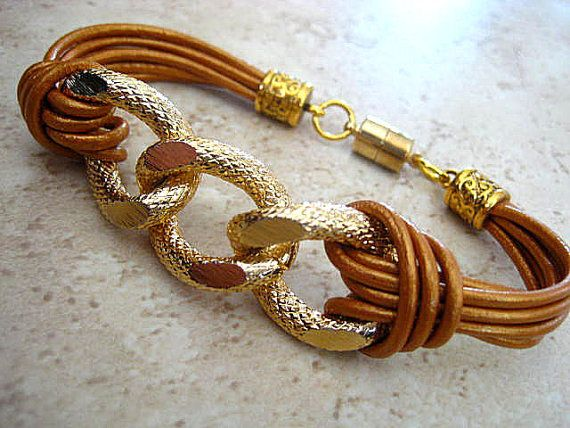 """Boho Chic Bronze Leather Gold Chunky Curb Chain Bracelet ... Magnetic Clasp ...""""FREE SHIPPING"""" by LeatherDiva, $24.00"""