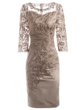 Stitching Embroidery O-Neck 3/4 Sleeve Bodycon Dress 3