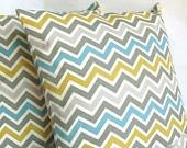 Blue Yellow Pillow Cover - 20x20 inch Zig Zag Decorative Cushion Cover - Blue Yellow Grey Chevron. $25.00, via Etsy.