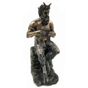 Bronzed Finish Pan Faun Statue Greek Mythology