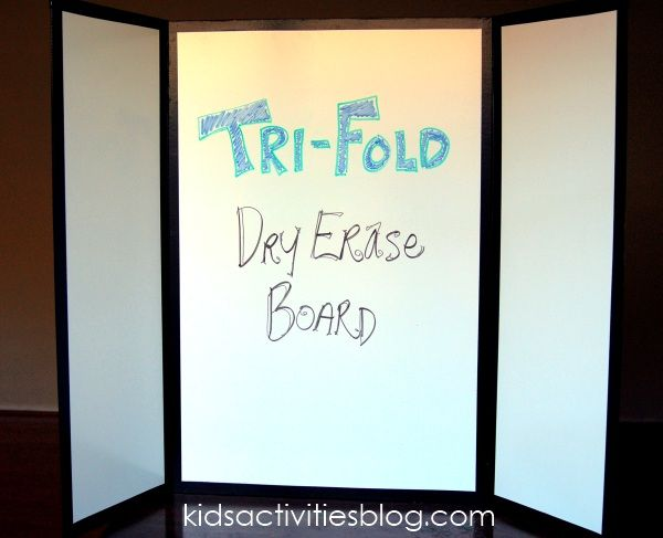 Make your own tri-fold dry erase board using shower board from Lowe's - they'll cut it for you! - and duct tape.  It cost about $15 for the supplies, and made two full sized tri-folds plus 8 desktop white boards!  Awesome!