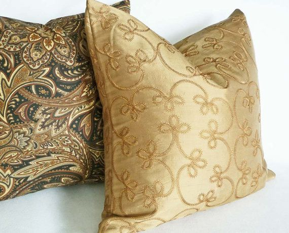 Luxury Silk Throw Pillows : Gold Silk Pillow, 14X18, Decorative Throw Pillow, Scrolls Cushion Covers, Luxury Embroidered ...