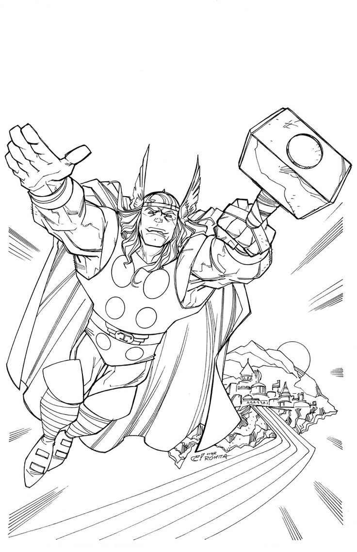 Thor Coloring Pages  Superhero coloring pages, Minion coloring