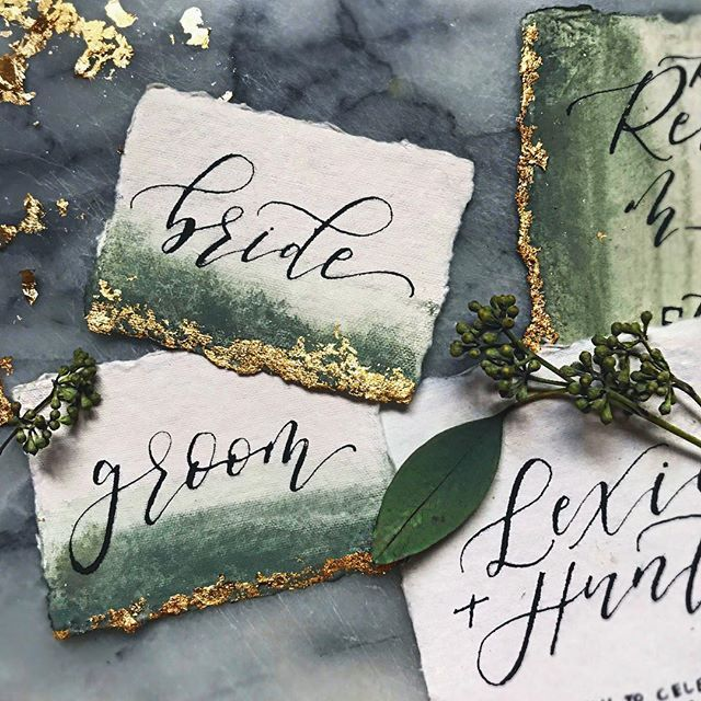 Forest Green + Gold Foiling on the dreamiest handmade cotton rag paper from @fabulousfancypants Finishing up the night with some emails + some December wedding prep + some custom vintage window frames + 347 cups of coffee ✍ #mondayrunday