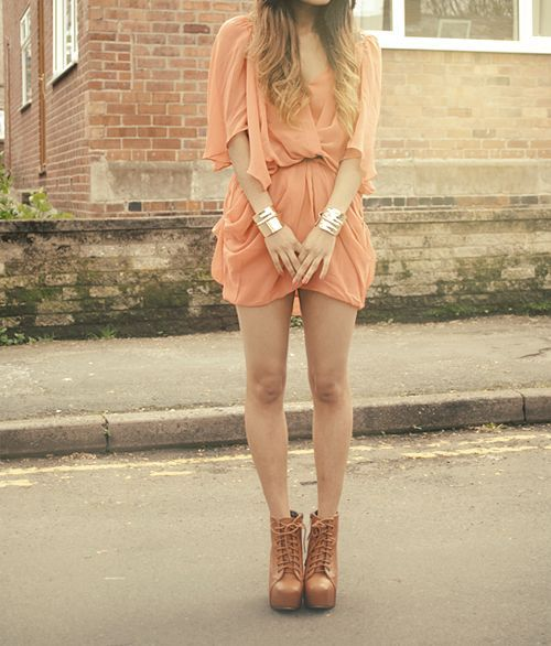 cute flowy orange summer dress for juniors 2015