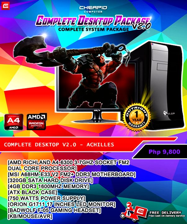PLEASE READ CAREFULLY. SOME OF YOUR QUESTIONS MIGHT BE ANSWERED ON POST'S DESCRIPTION!  We present to you our new sets of CPC Complete Package v2.0 with lots of new customation. We now offer FREE DELIVERY for Online Purchase and Cash-On-Delivery Service.   We're also giving you a 1 YEAR OUTRIGHT REPLACEMENT for any of our CPC Complete Package V2.0!  What you're waiting for? Grab those new PC and start gaming!  Because with Cheapid Computer, sigurado #CheapidAko !!!  Complete Desktop V2.0…