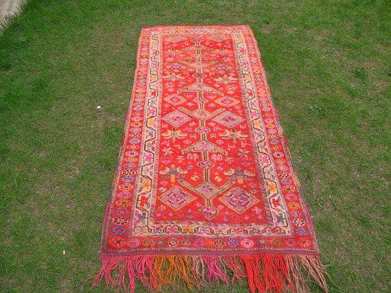 Bohemian Rug Herki Rug Anatolian Boho Rug Boho Vintage Rug