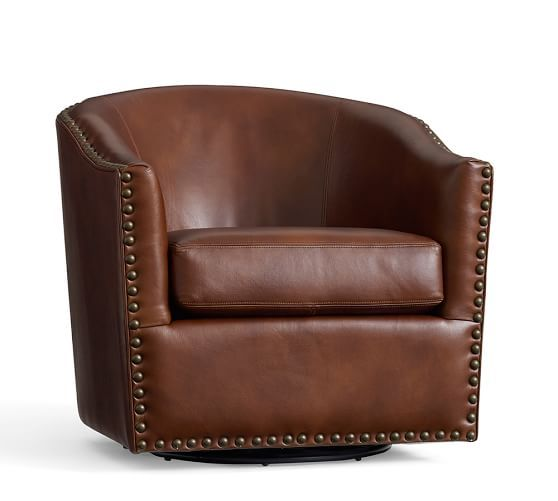 Harlow Leather Swivel Armchair | Pottery Barn - Cognac Leather - $799 (less 20% is $639.20)