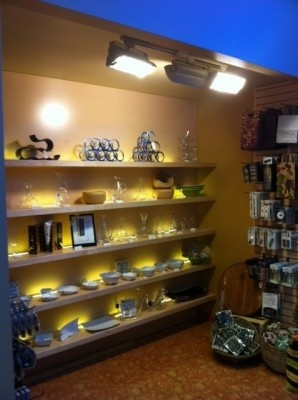 Our new glassware and wine accessory displays.