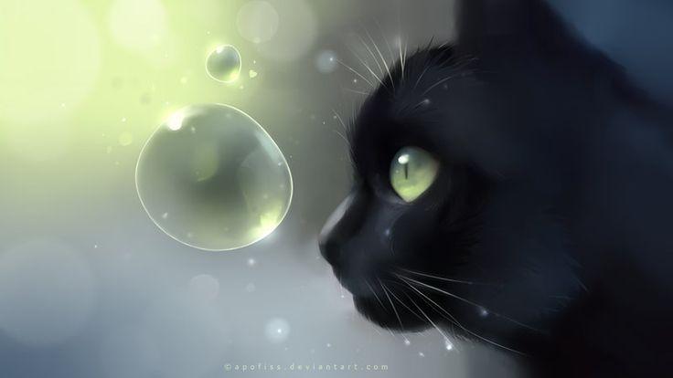 worlds within paper by *Apofiss on deviantARTDigital Illustration, Art Prints, Cat Illustration, Green Eye, Retrato-Port Digital, Black Cat, Animal, Apofiss, Water Drop