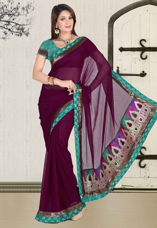 Dark #Magenta Faux #Chiffon #Saree with Blouse