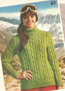 Vintage+knitting+free+patterns,+gratis+breipatronen+onder+andere+jaren+70+patronen:+Mooie+kabeltrui+voor+dames+met+col,+heerlijk+warm
