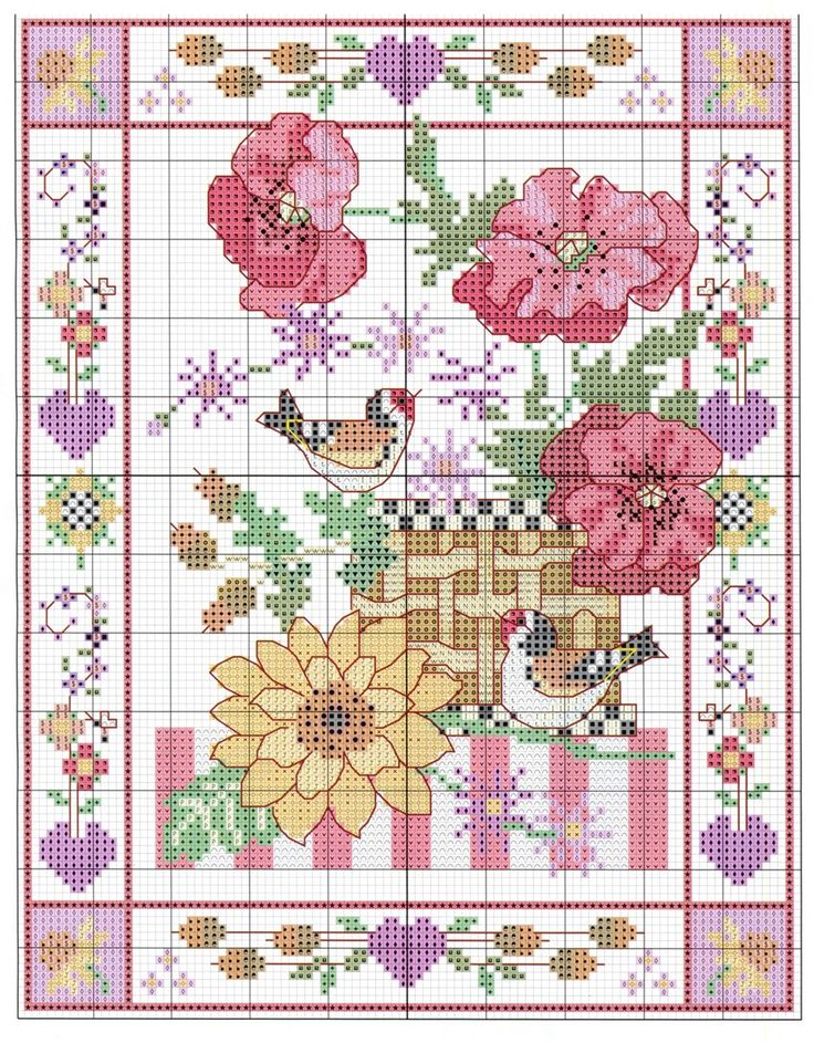 Cross-stitch Springtime Basket ... no color chart available, just use pattern chart as your color guide.. or choose your own colors... 0 b89a1 1fc83c6e XXXL
