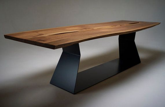Parallelogram Live Edge Table | 7.75ft Solid Exotic Hardwood | Black Base
