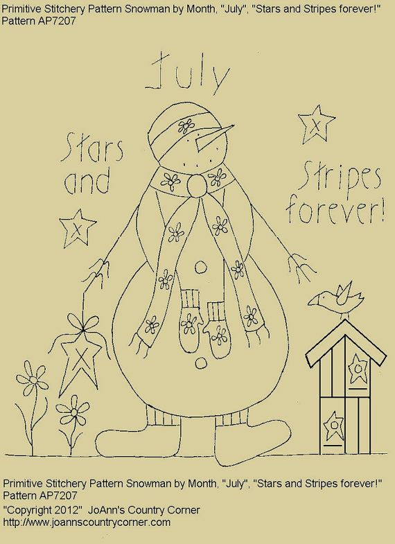 "Primitive Stitchery E-Pattern Snowman by Month ""July"", ""Stars and Stripes forever!"" on Etsy, $2.00"