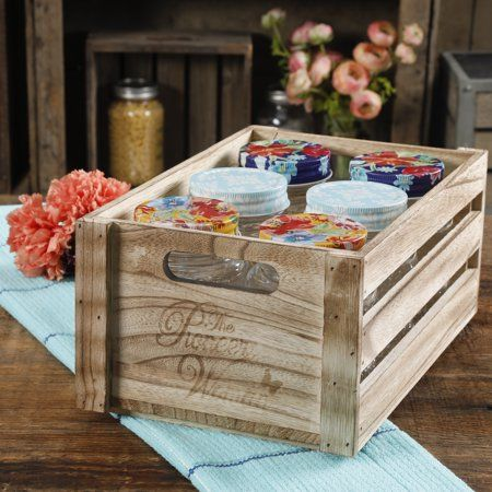 The Pioneer Woman Spring Bouquet 16oz Jars in a Wooden Crate, Set of 6 Image 2 o…  – Wooden crate