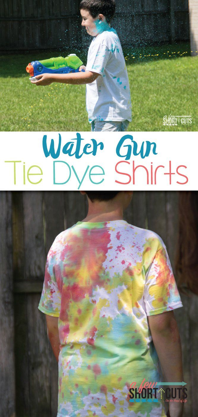 What a fun way to kick off Summer or a party! Water Gun Tie Dye Shirts could possibly be the most fun we have ever had making our own t-shirts! Check out how much fun this is!