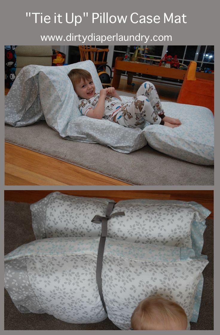 """""""Tie-it-up"""" Pillowcase Lounger made from 4 Standard pillowcases sewn together and ribbon."""