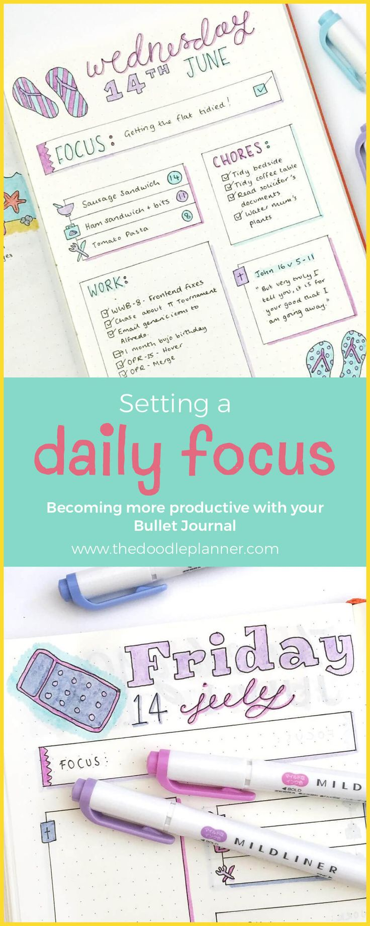 Setting a Daily Focus - Become more productive with your Bullet Journal