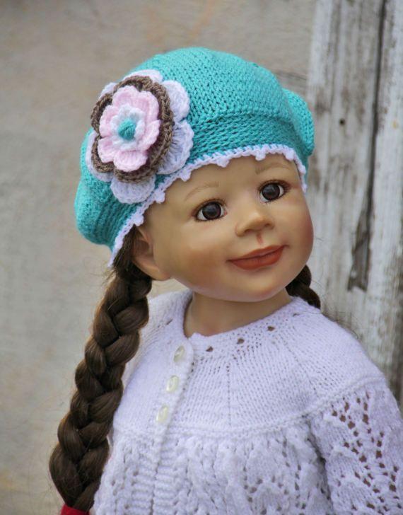 Knitted Children's hat turquoise color flower Crochet