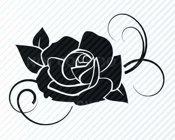 Black Rose Flower Svg Files For Cricut Flower Vector In Dxf Black And White Flowers Flower Svg Files Flower Svg Black Rose Flower
