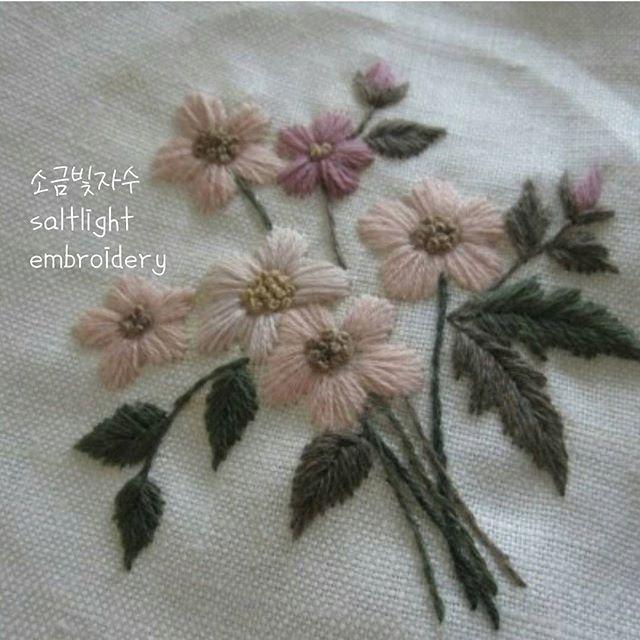 #인디핑크 #모사자수실 #꽃수놓다  #소금빛자수 #자수재료 #손끝에서피는꽃과자수 #입체자수꽃나무열매 #자수타그램 #embroidery #needlework