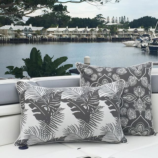 Making boats beautiful with our 'Coast Collection' outdoor fabrics in Stone #3beaches #sunbrella #coastcollection #faderesistant #waterresistant #stainresistant #luxury #woven #outdoorfabric #outdoorcushions #australiandesigners #textiledesign #interiordesign #beachstyle #coastalliving #boating #boatfabric #stone