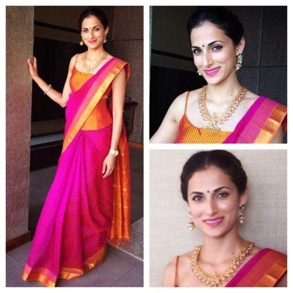 silk saree with corset blouse