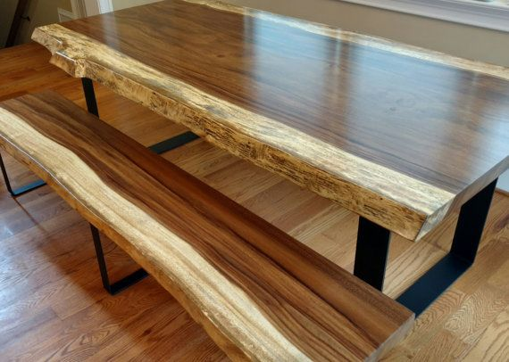 Live Edge Guanacaste Dining Table And Bench Set By Merican Rustic!