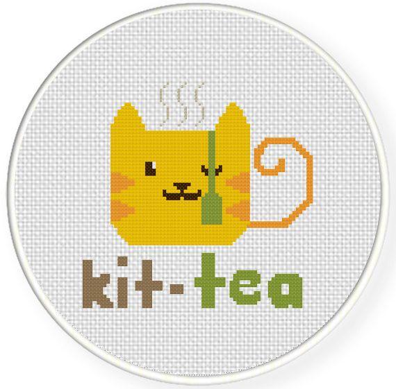 FREE for Jan 15th 2015 Only - Kit-Tea Cross Stitch Pattern