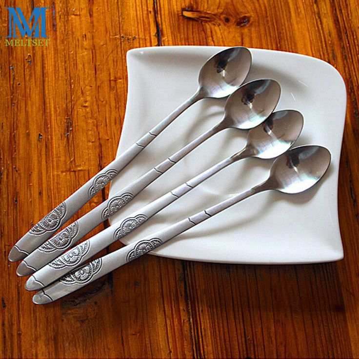 Cheap spoon spoon, Buy Quality spoon picture directly from China spoon bottle Suppliers: 5pcs/Lot Stainless Steel Long Handled Coffee Spoon Printed Small Ice Cream Spoon