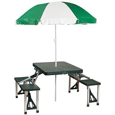 Portable Folding Picnic Table Umbrella Combo Beach Camping Patio Outdoor 4 Seats