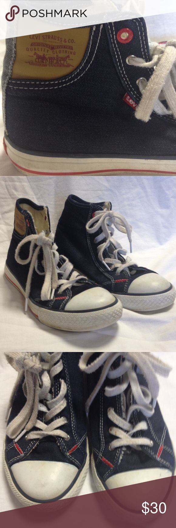 Levi's high top tennis shoes kid's size 3 1/2 These tennis shoes are adorable.  Would be cute with jeans now and shorts in the summer. Good used condition Levi's Shoes Sneakers