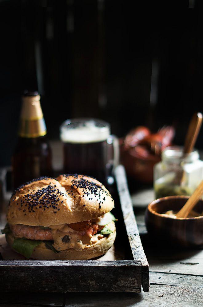 Hamburguesa de salmón y langostinos | La Granja Gourmet