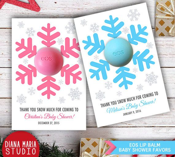 Winter Wonderland Baby Shower Theme - Snowflakes Baby Shower Favors with EOS lip balm These darling little printables are a perfect solution to